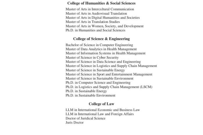 Hammad bin Khalifa University Scholarship 2021