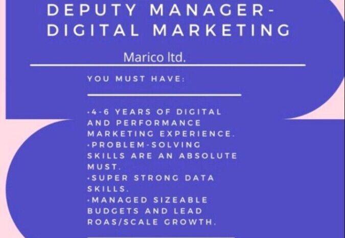 Job Opening for Deputy Manager – Digital Marketing